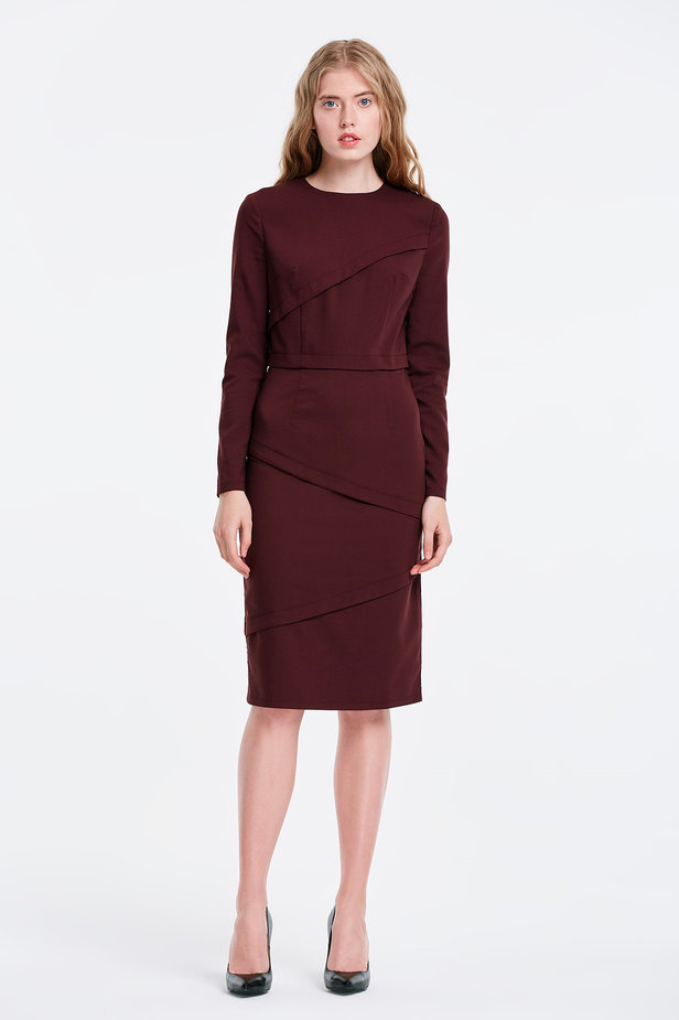 Burgundy dress with stripes photo 5 - MustHave online store