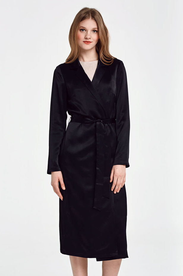 Below the knee wrap black trenchcoat with a belt photo 2 - MustHave online store