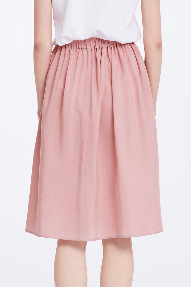 Below the knee powder pink skirt with an elastic waistband photo 5 - MustHave online store
