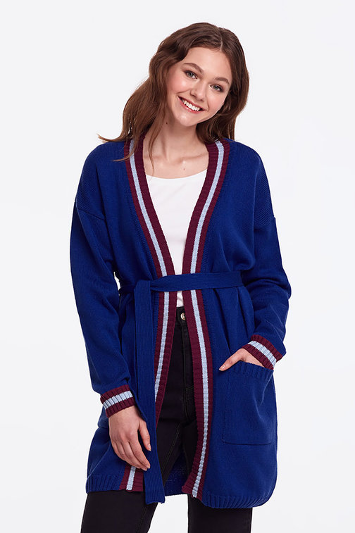 Blue cardigan with stripes
