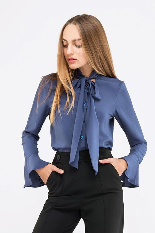 Blue blouse with a bow and ruffled sleeves