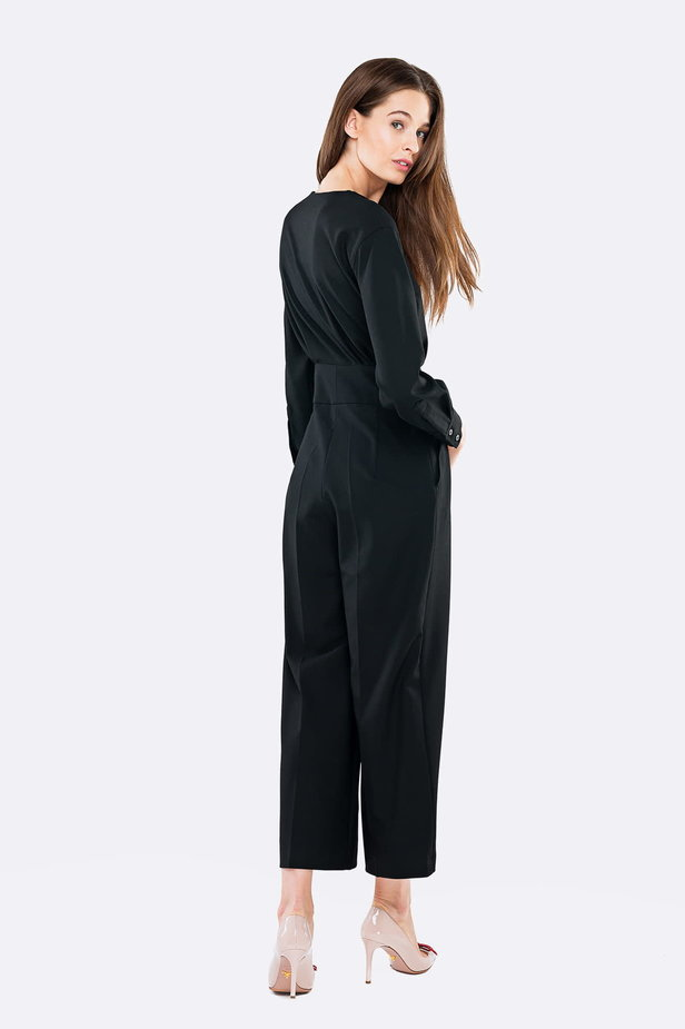 Black jumpsuit with a concealed placket photo 4 - MustHave online store
