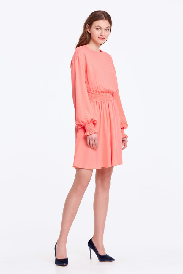 Coral dress with an elastic waistband photo 5 - MustHave online store