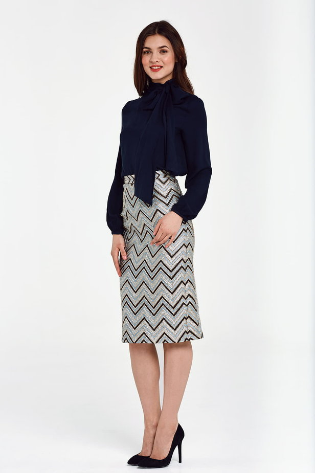 Blue skirt with black and gold zigzag below the knee photo 2 - MustHave online store