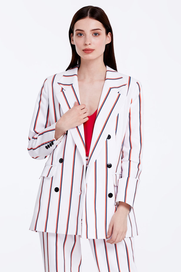 Double-breasted white jacket with blue and red stripes photo 1 - MustHave online store
