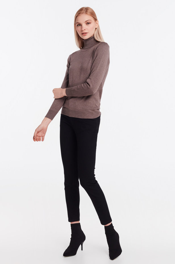 Brown knit polo neck photo 2 - MustHave online store
