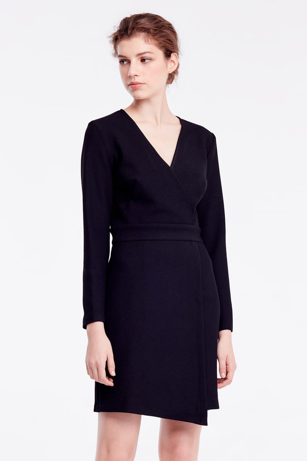 Above-knee wrap black dress photo 1 - MustHave online store