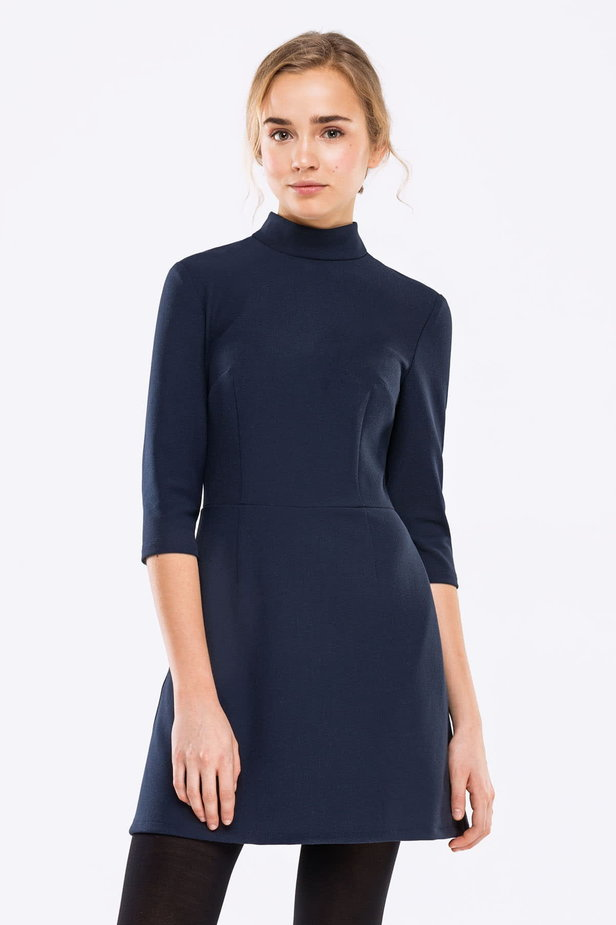 Blue A-line dress with a stand up collar photo 1 - MustHave online store