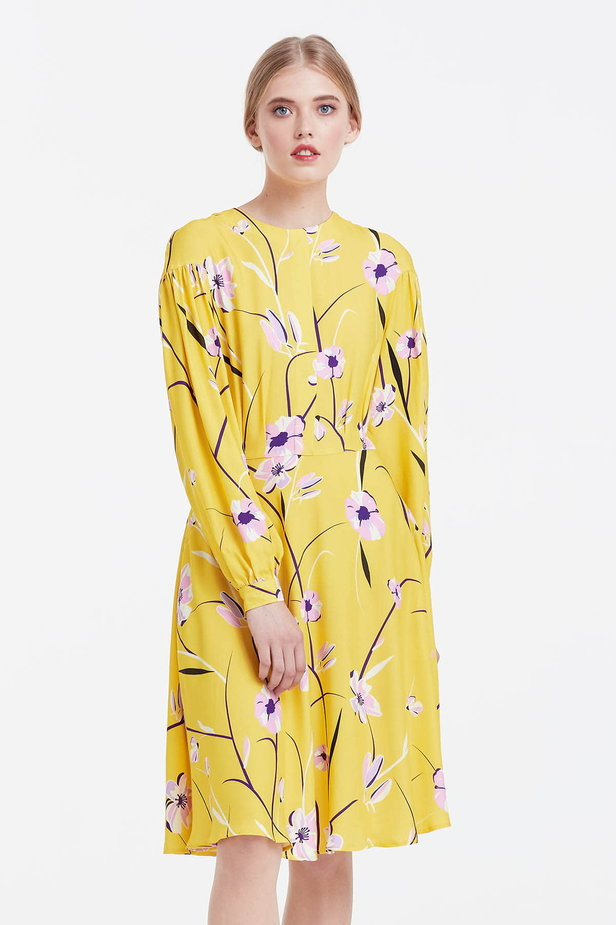 Yellow dress with a floral print and a concealed placket photo 1 - MustHave online store