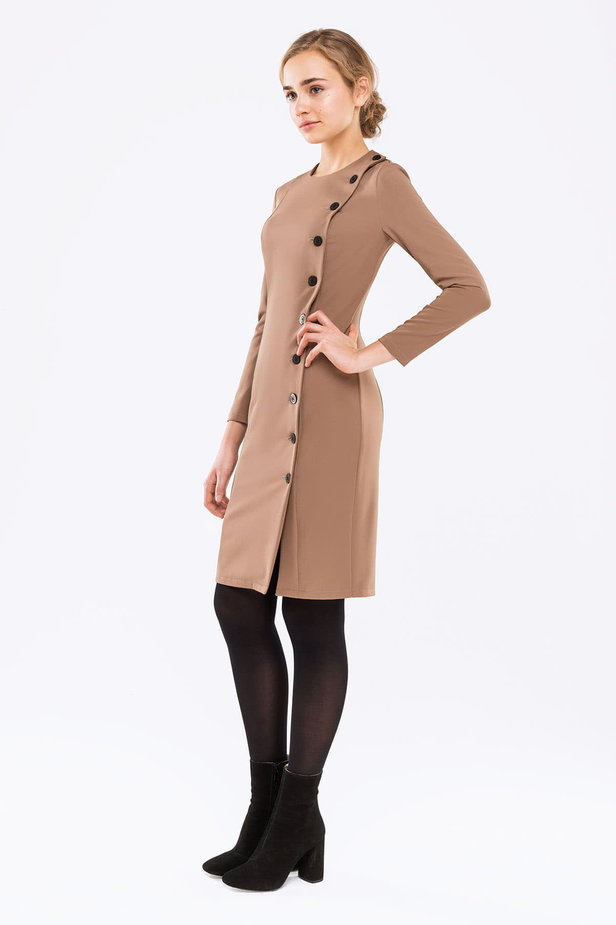 Beige dress with buttons photo 2 - MustHave online store
