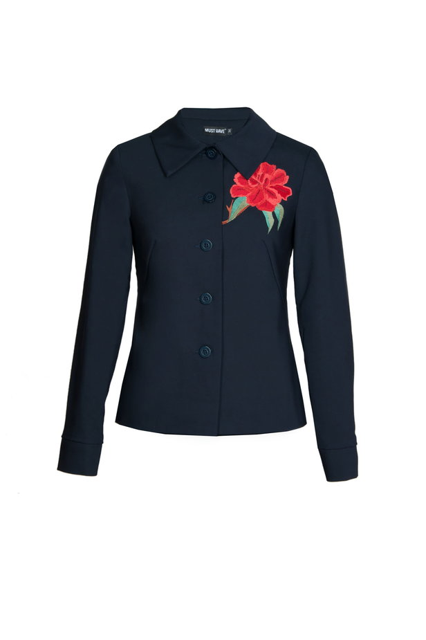 Dark blue jacket with a flounce and embroidery photo 6 - MustHave online store