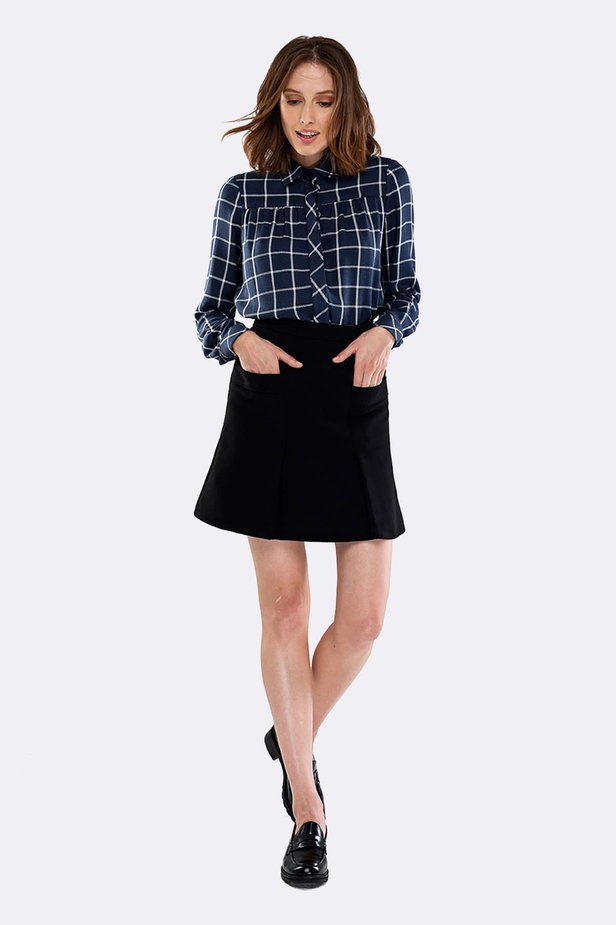 Checked shirt with pleats on the chest photo 4 - MustHave online store
