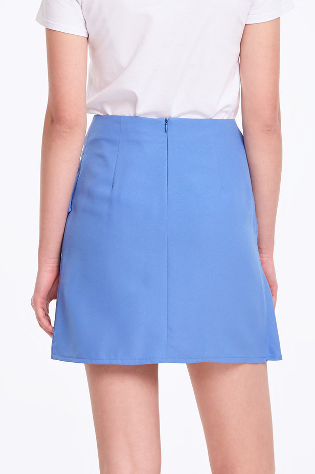 Mini blue skirt with a flounce photo 4 - MustHave online store
