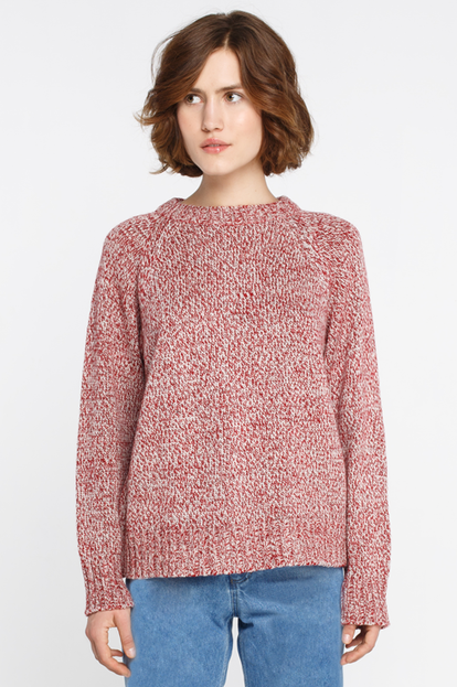 Melange wool loose sweater