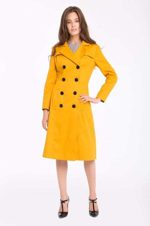 Double-breasted mustard trenchcoat