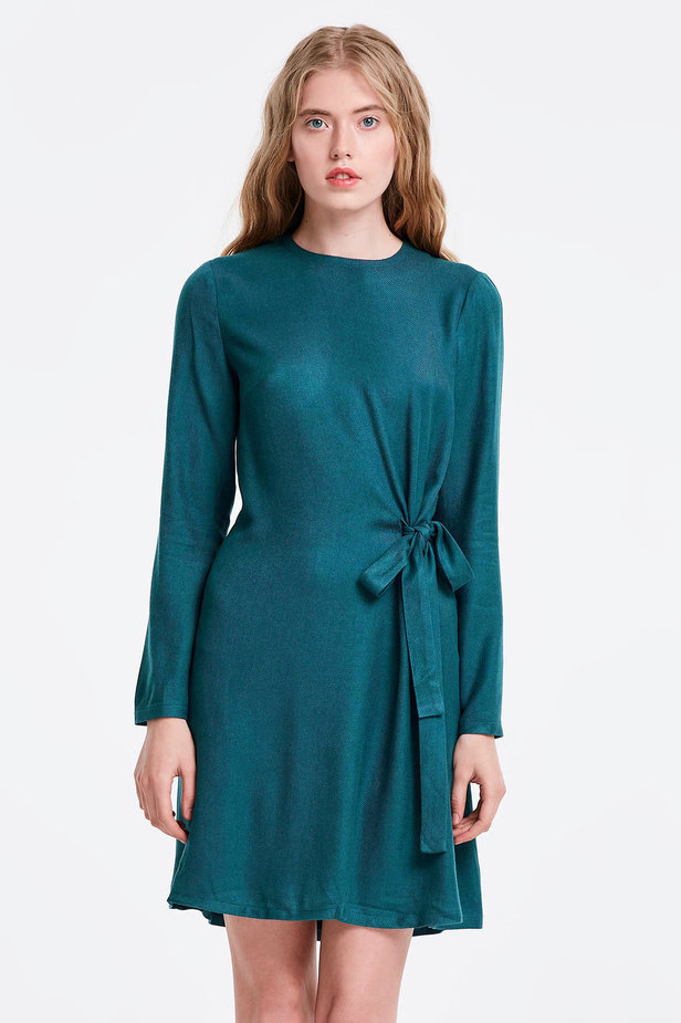 Marine green dress with ties photo 1 - MustHave online store