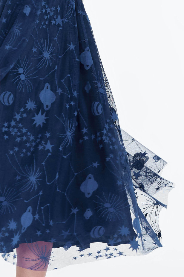 Blue dress with a space pattern photo 6 - MustHave online store