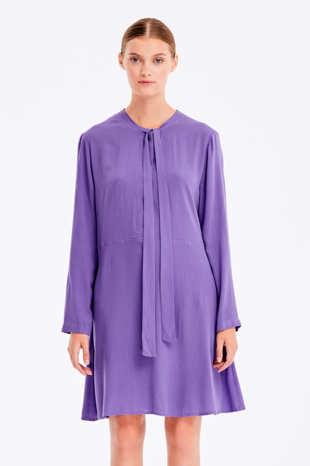 Violet dress with ties photo 1 - MustHave online store