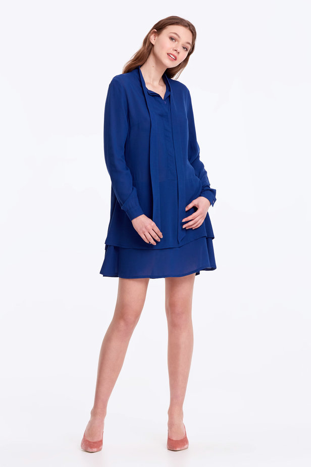 Blue dress with a bow photo 2 - MustHave online store