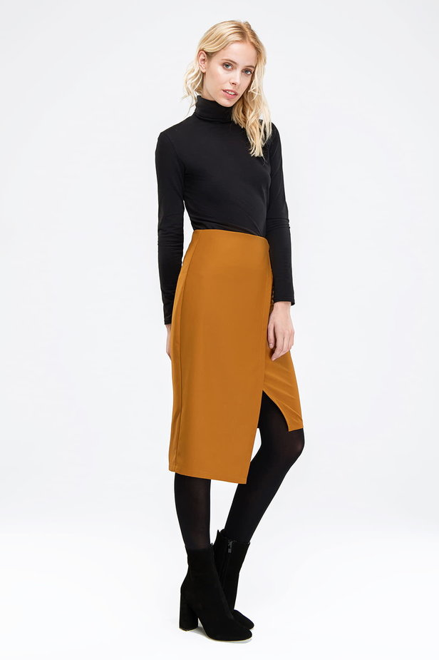 Wrap mustard skirt photo 3 - MustHave online store