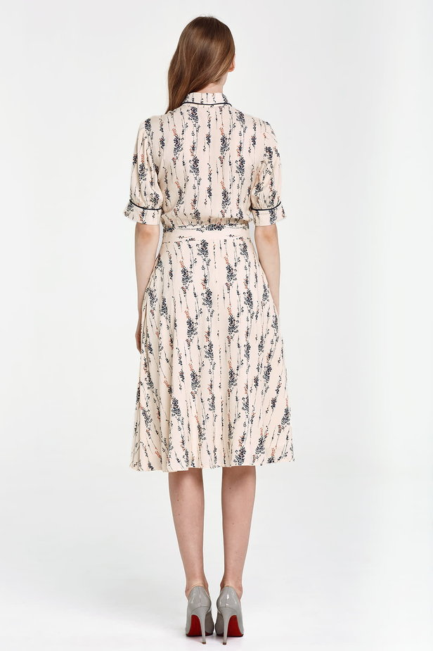 Midi beige shirt dress, floral print photo 6 - MustHave online store