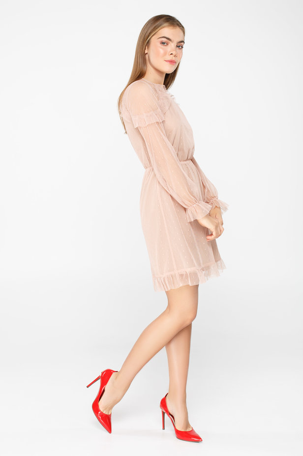 Pale pink tulle dress above the knee with ruffles photo 3 - MustHave online store