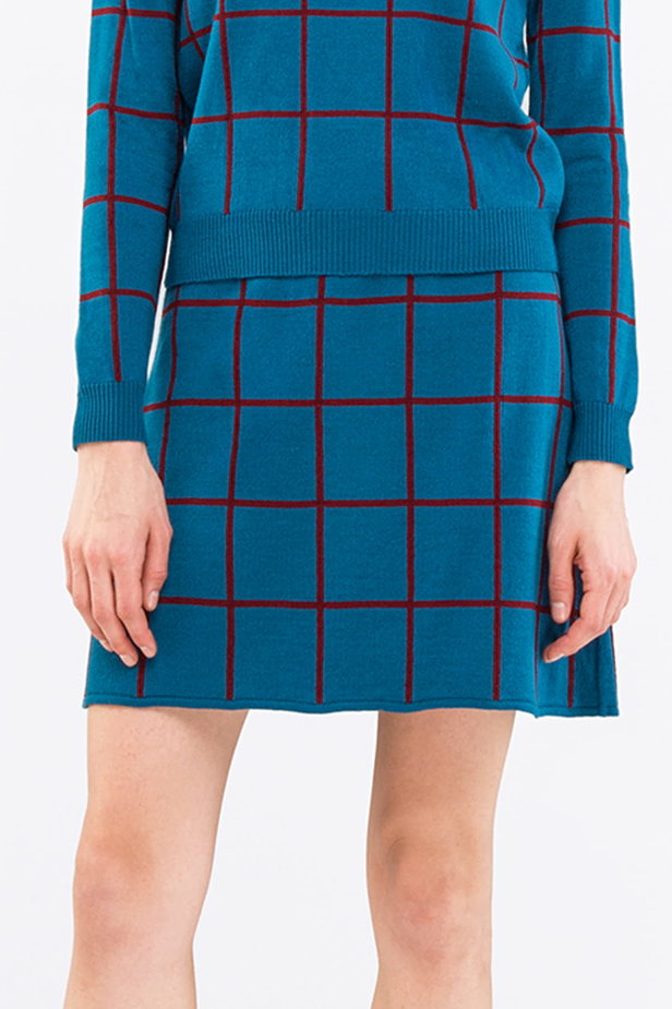Checked blue dress photo 1 - MustHave online store