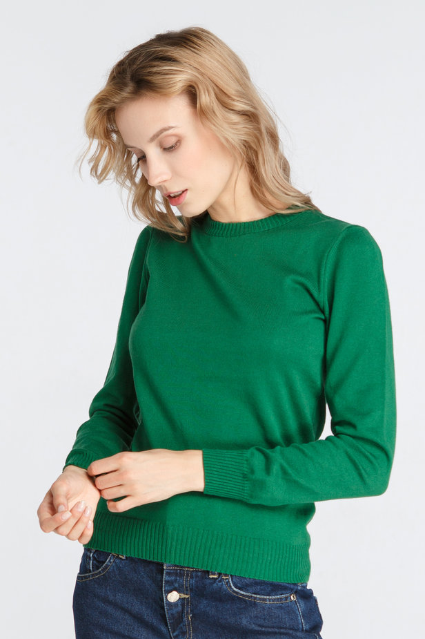 Green knitted sweater photo 3 - MustHave online store