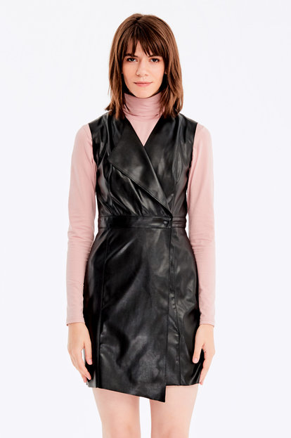Wrap black leather dress