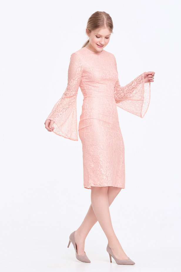Column powder pink lace dress with flared sleeves photo 7 - MustHave online store