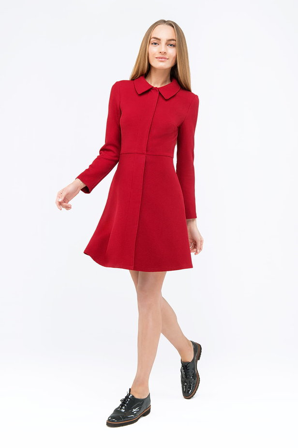 Red mini dress with a concealed placket photo 4 - MustHave online store