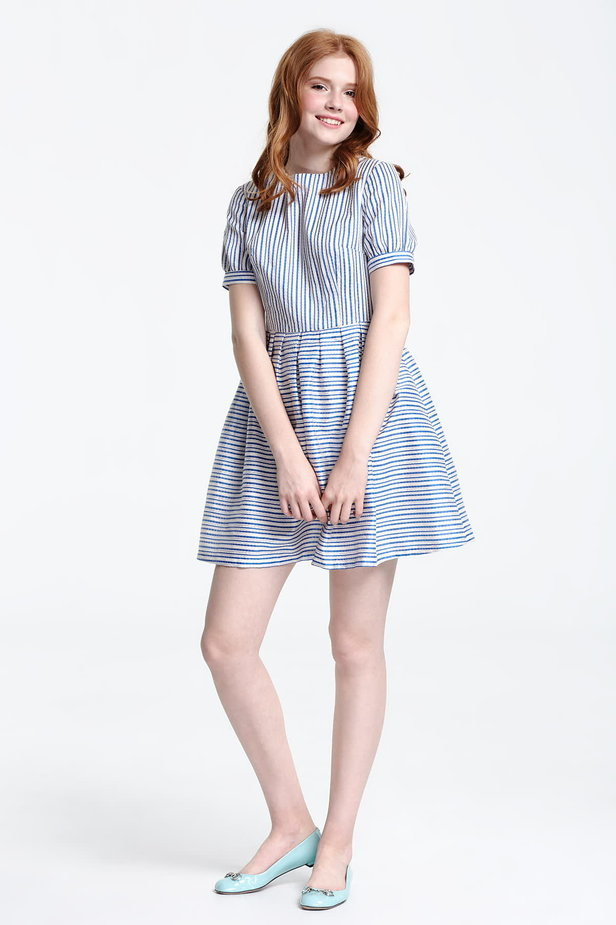 Mini dress with white and blue stripes photo 3 - MustHave online store