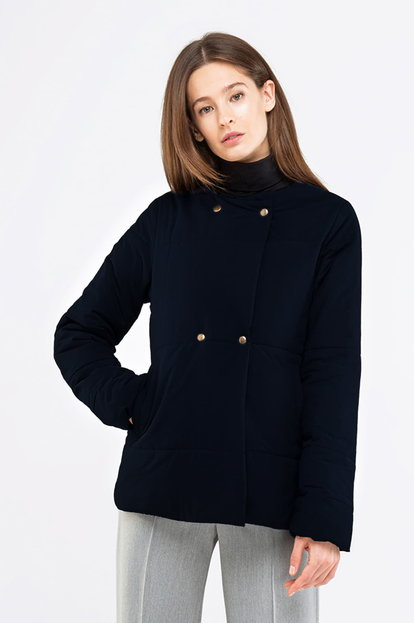 Dark blue jacket with snaps