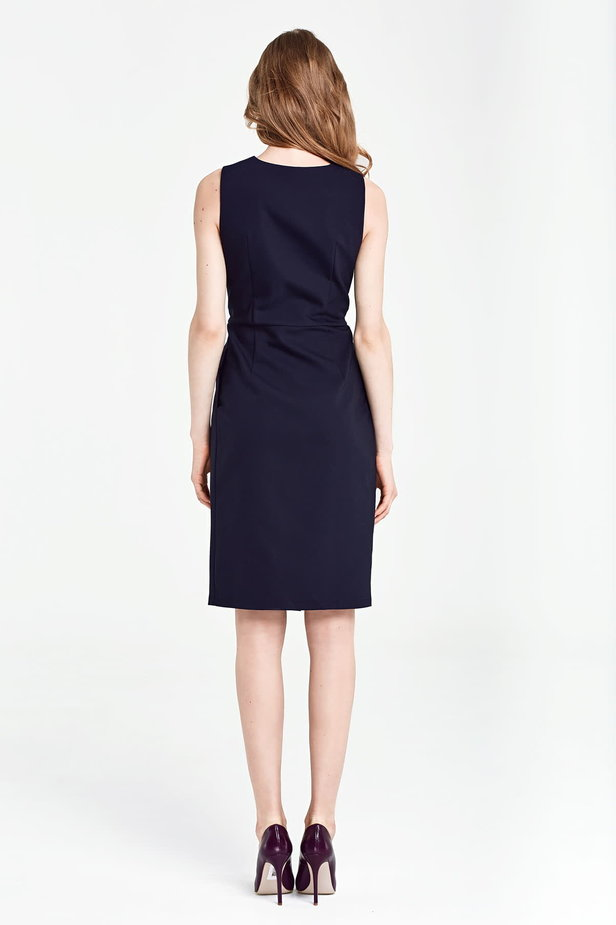 Dark blue column dress with buttons below the knee photo 4 - MustHave online store