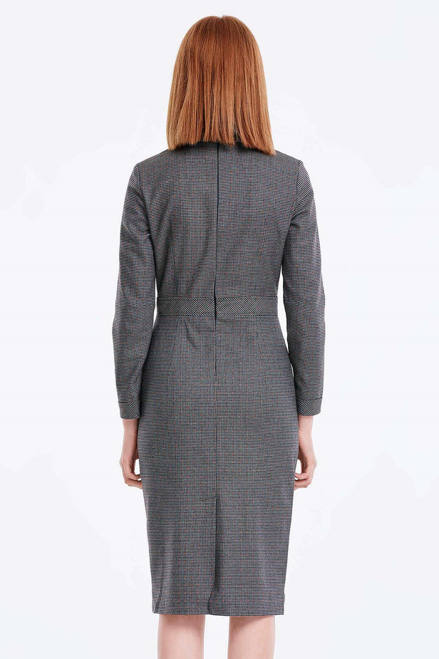 Grey shirt dress with a houndstooth print photo 3 - MustHave online store