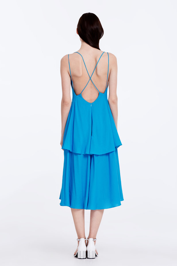Midi blue dress with criss-cross straps at the back photo 7 - MustHave online store