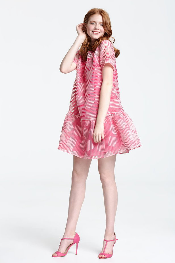 Above the knee striped pink dress with a flared skirt, rhombs print photo 2 - MustHave online store