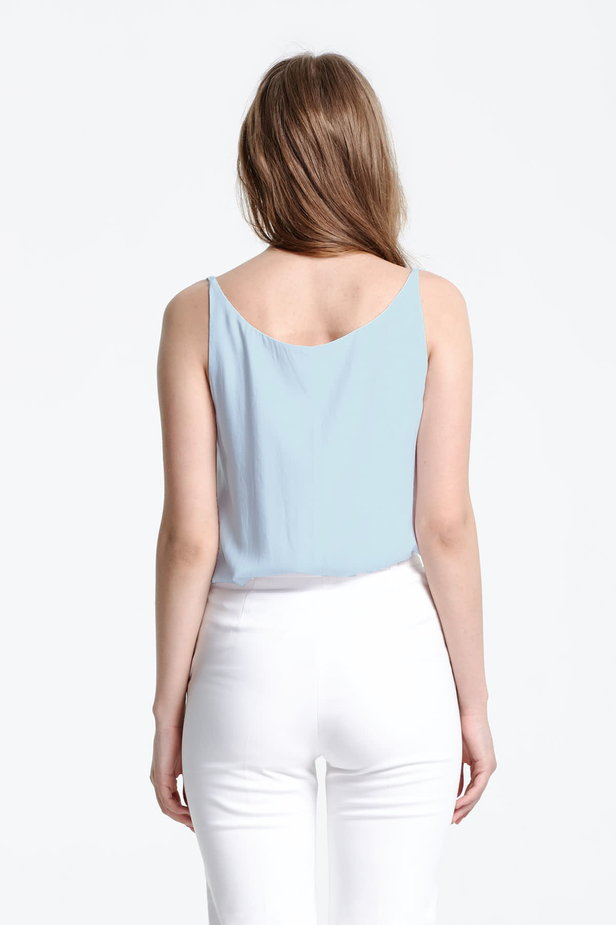 Blue top with a low neckline photo 3 - MustHave online store