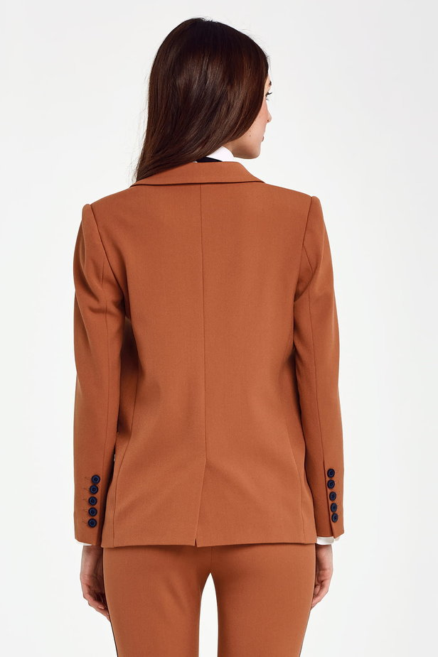Double-breasted brown jacket with pockets photo 5 - MustHave online store