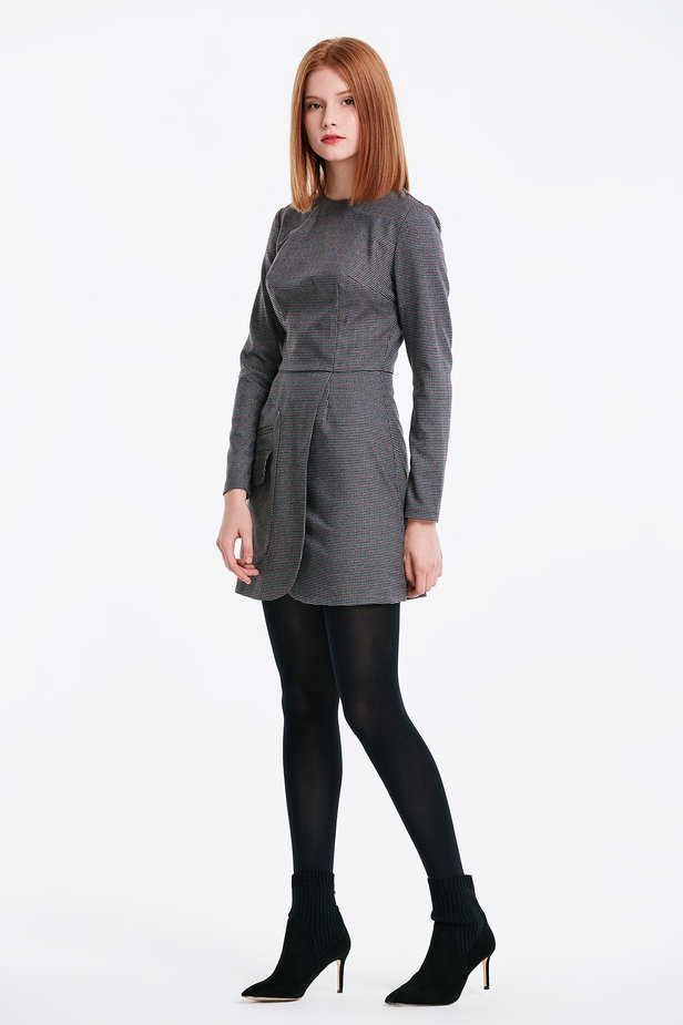 Wrap grey dress with a houndstooth print and a pocket photo 3 - MustHave online store