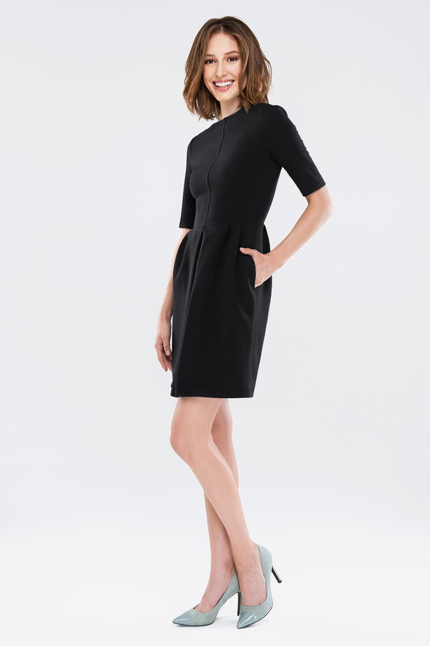 Black dress with folds photo 3 - MustHave online store