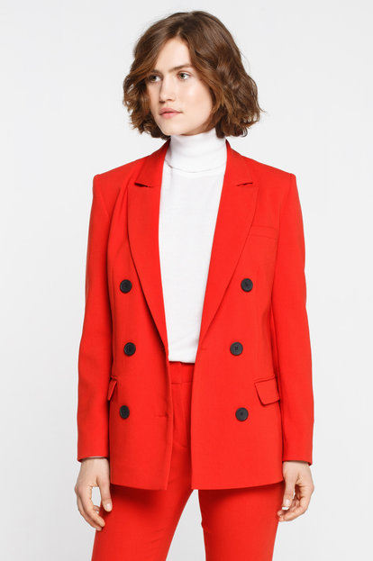 Red double breasted jacket