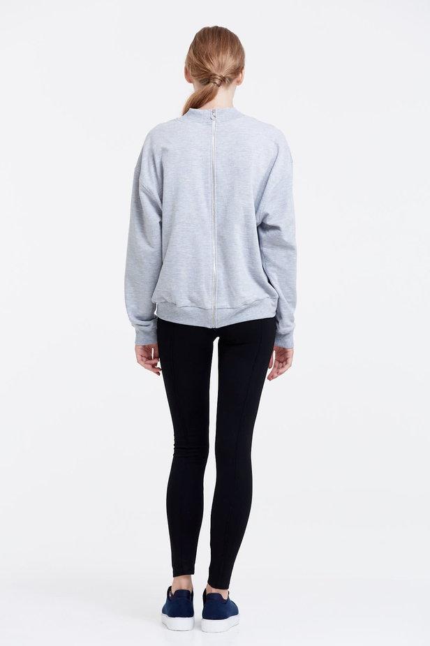 Grey sweatshirt with a zip at the back photo 3 - MustHave online store