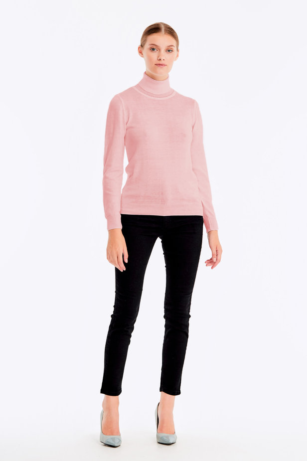 Powder pink polo neck with cotton photo 2 - MustHave online store