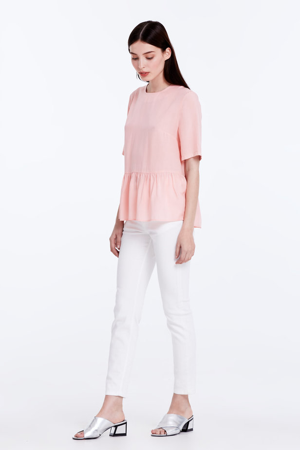 Powder pink top with a flounce photo 3 - MustHave online store