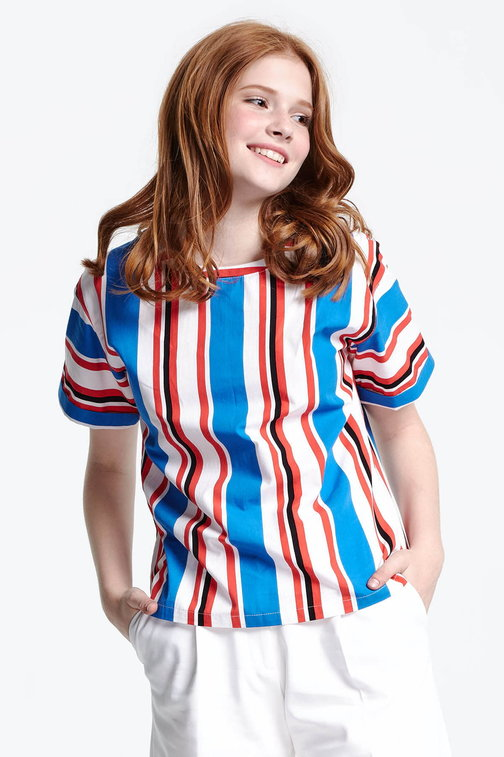 Top with blue and red stripes