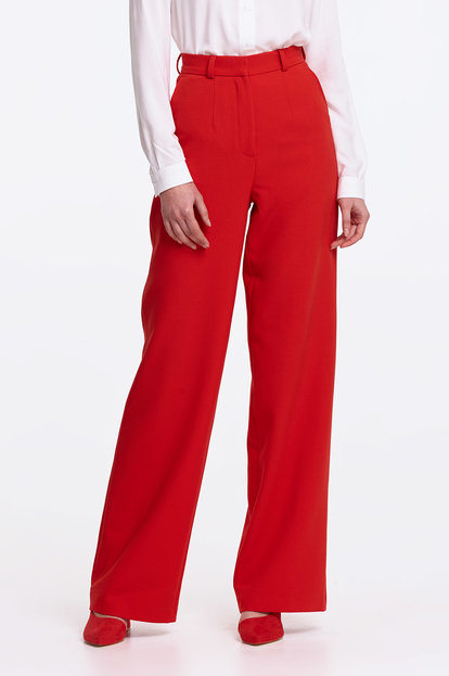 Wide leg red trousers
