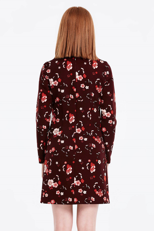 A-line burgundy dress with a floral print photo 3 - MustHave online store