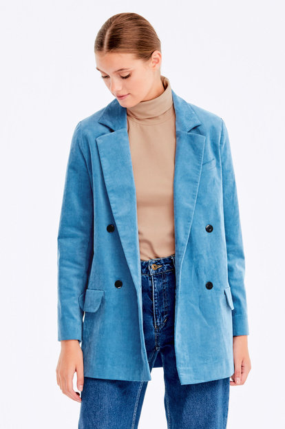 Double-breasted blue velvet jacket