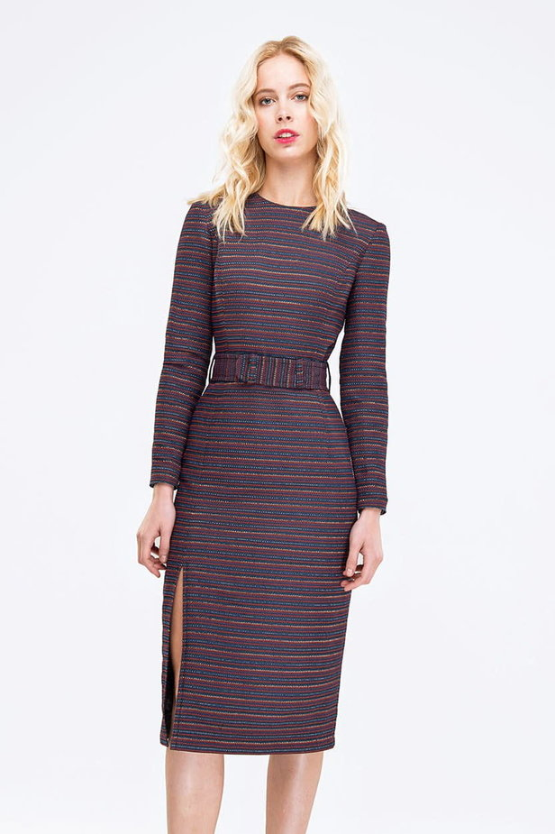 Striped column dress with lurex and slit photo 1 - MustHave online store